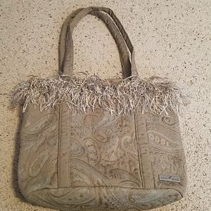 Isabella's Journey Tan Tapestry Button Tote Bag
